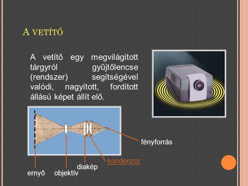 A VETÍTŐ fényforrás kondenzor diakép objektívernyő A vetítő egy megvilágított tárgyról gyűjtőlencse (rendszer) segítségével valódi, nagyított, fordított állású képet állít elő.