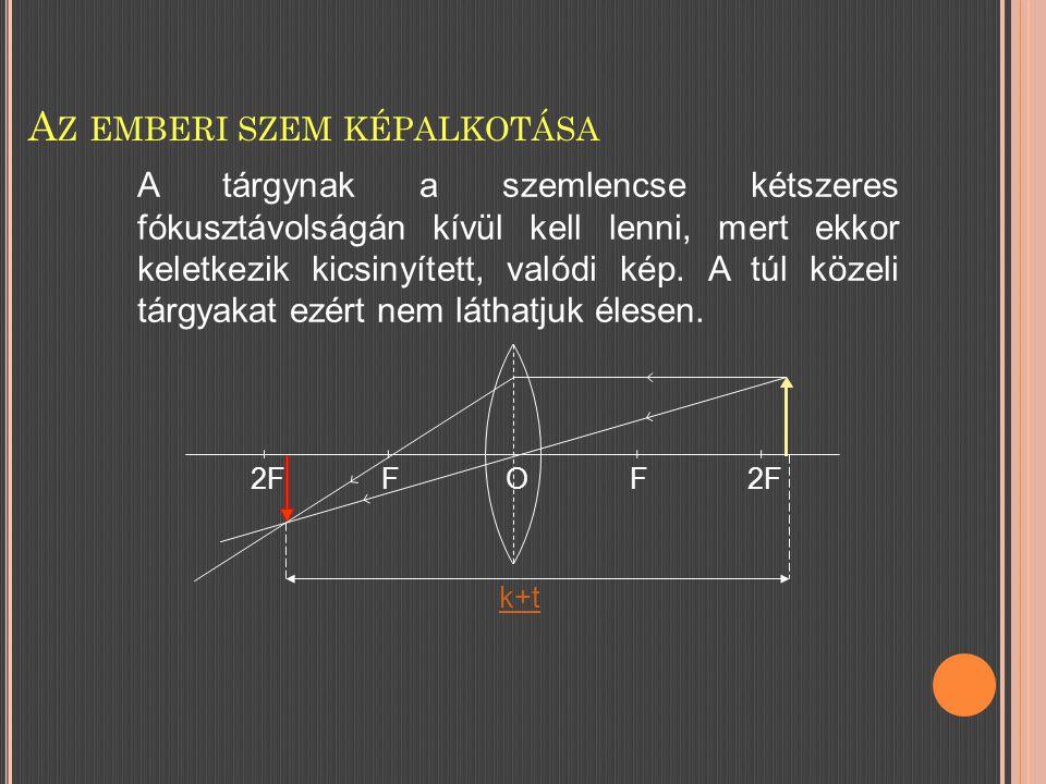 A Z EMBERI SZEM KÉPALKOTÁSA 2FFF O k+t A tárgynak a szemlencse kétszeres fókusztávolságán kívül kell lenni, mert ekkor keletkezik kicsinyített, valódi kép.