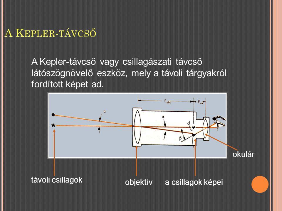 A K EPLER - TÁVCSŐ A Kepler-távcső vagy csillagászati távcső látószögnövelő eszköz, mely a távoli tárgyakról fordított képet ad.
