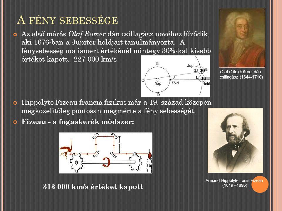 A FÉNY SEBESSÉGE Az első mérés Olaf Römer dán csillagász nevéhez fűződik, aki 1676-ban a Jupiter holdjait tanulmányozta.