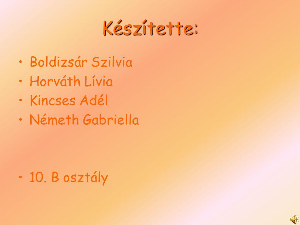 Készítette: Boldizsár Szilvia Horváth Lívia Kincses Adél Németh Gabriella 10. B osztály