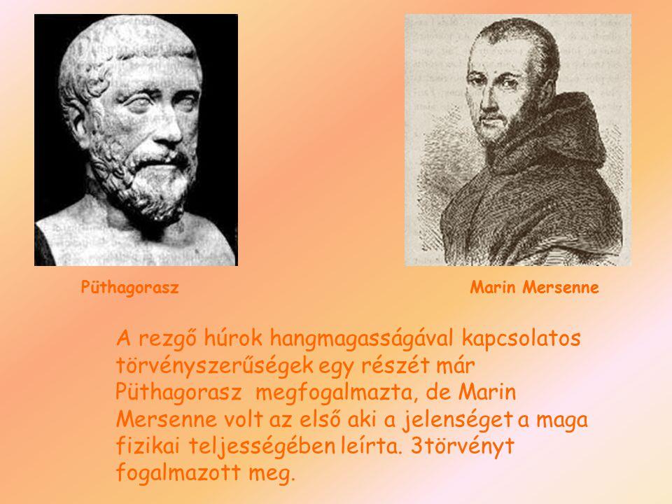 A rezgő húrok hangmagasságával kapcsolatos törvényszerűségek egy részét már Püthagorasz megfogalmazta, de Marin Mersenne volt az első aki a jelenséget