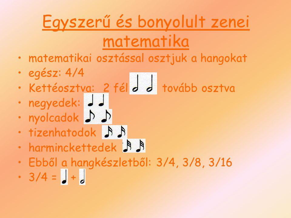 Egyszerű és bonyolult zenei matematika matematikai osztással osztjuk a hangokat egész: 4/4 Kettéosztva: 2 fél tovább osztva negyedek: nyolcadok tizenh
