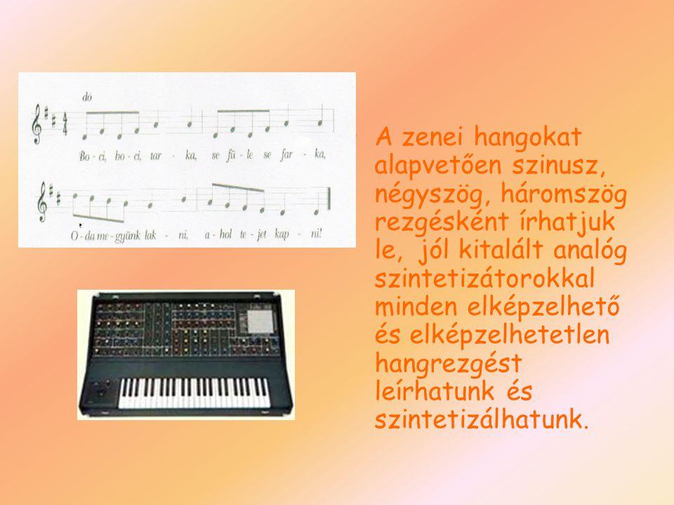 A zenei hangokat alapvetően szinusz, négyszög, háromszög rezgésként írhatjuk le, jól kitalált analóg szintetizátorokkal minden elképzelhető és elképze