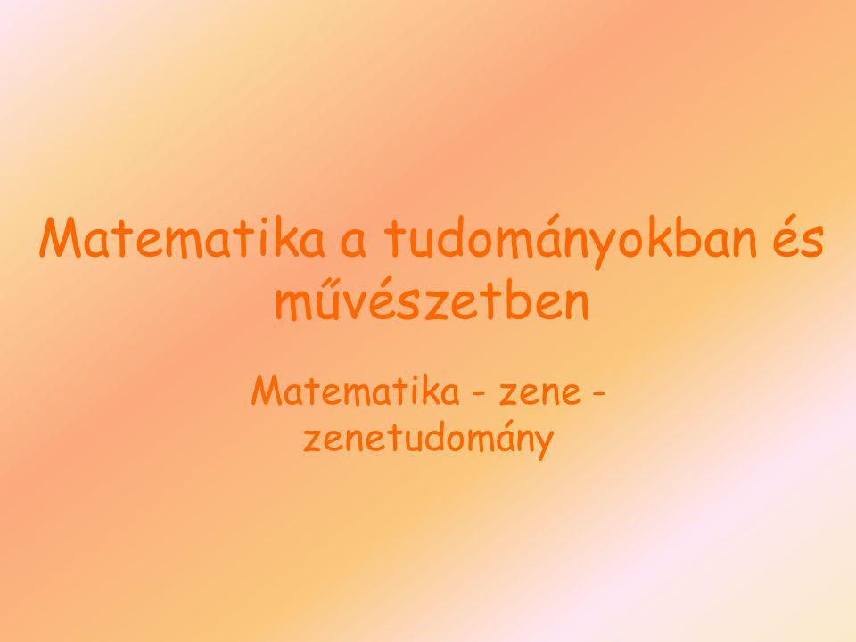 Matematika a tudományokban és művészetben Matematika - zene - zenetudomány