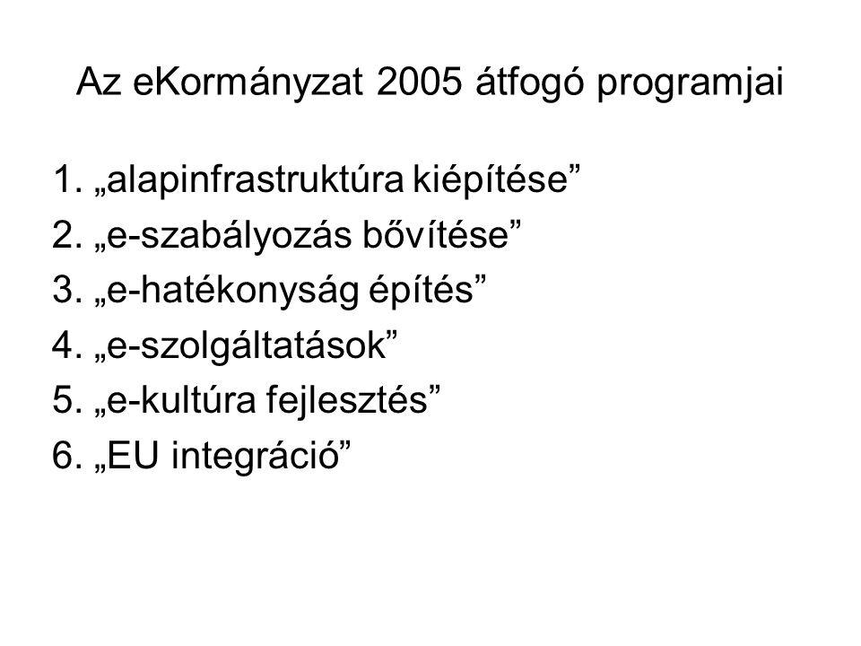 """Az eKormányzat 2005 átfogó programjai 1. """"alapinfrastruktúra kiépítése 2."""