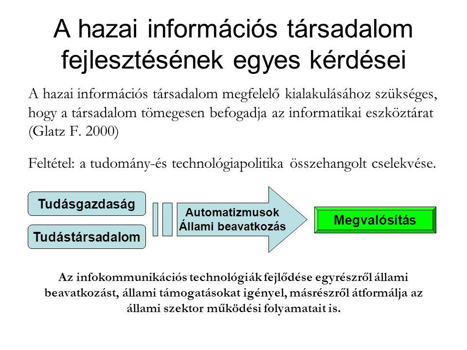 A hazai információs társadalom fejlesztésének egyes kérdései A hazai információs társadalom megfelelő kialakulásához szükséges, hogy a társadalom tömegesen befogadja az informatikai eszköztárat (Glatz F.
