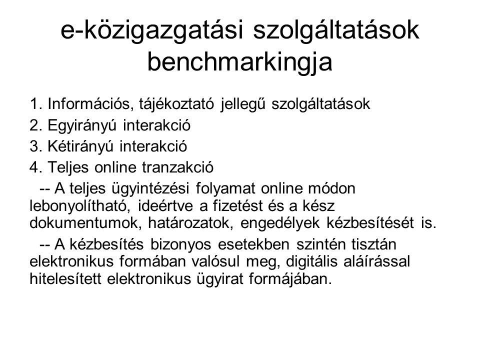 e-közigazgatási szolgáltatások benchmarkingja 1. Információs, tájékoztató jellegű szolgáltatások 2.