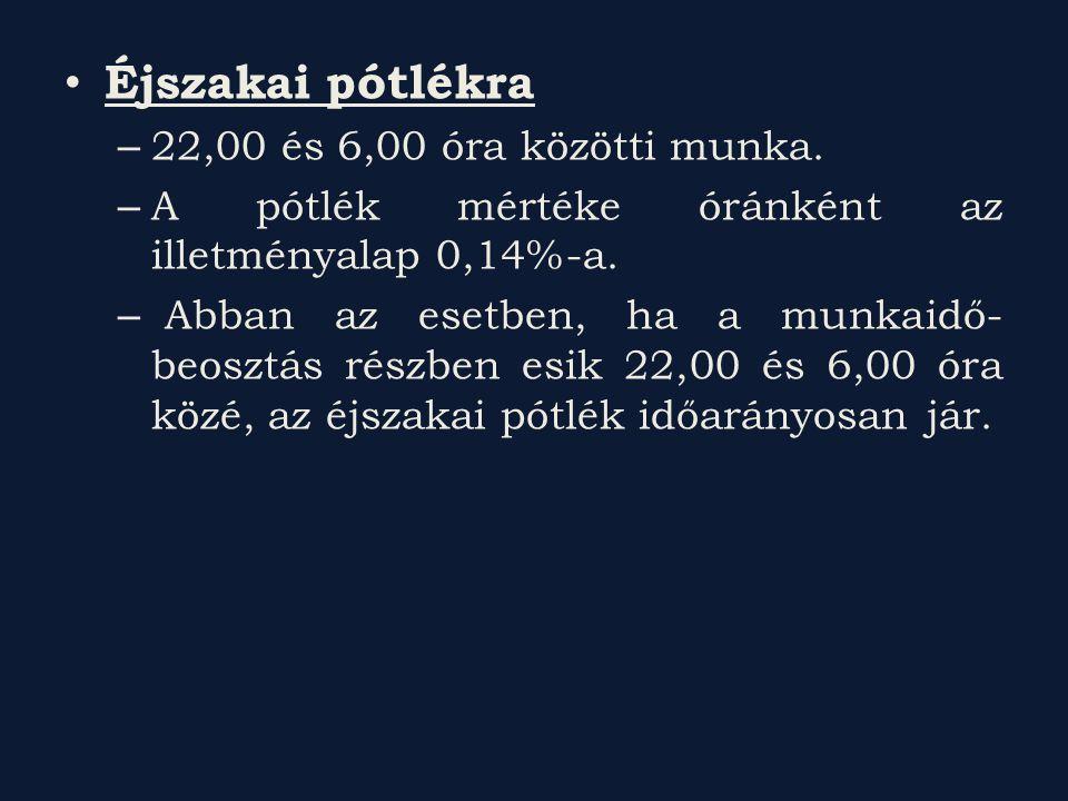 Éjszakai pótlékra – 22,00 és 6,00 óra közötti munka. – A pótlék mértéke óránként az illetményalap 0,14%-a. – Abban az esetben, ha a munkaidő- beosztás