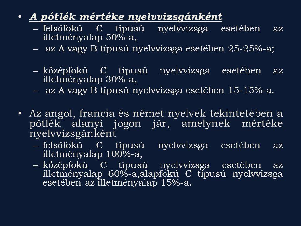 A pótlék mértéke nyelvvizsgánként – felsőfokú C típusú nyelvvizsga esetében az illetményalap 50%-a, – az A vagy B típusú nyelvvizsga esetében 25-25%-a