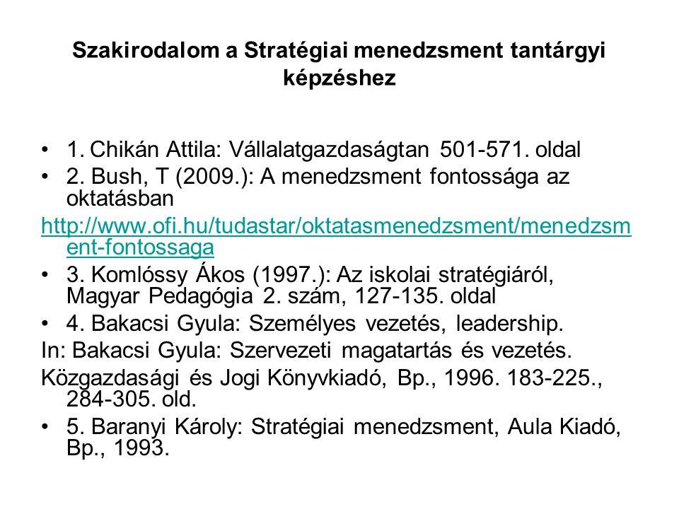 Szakirodalom a Stratégiai menedzsment tantárgyi képzéshez 1.
