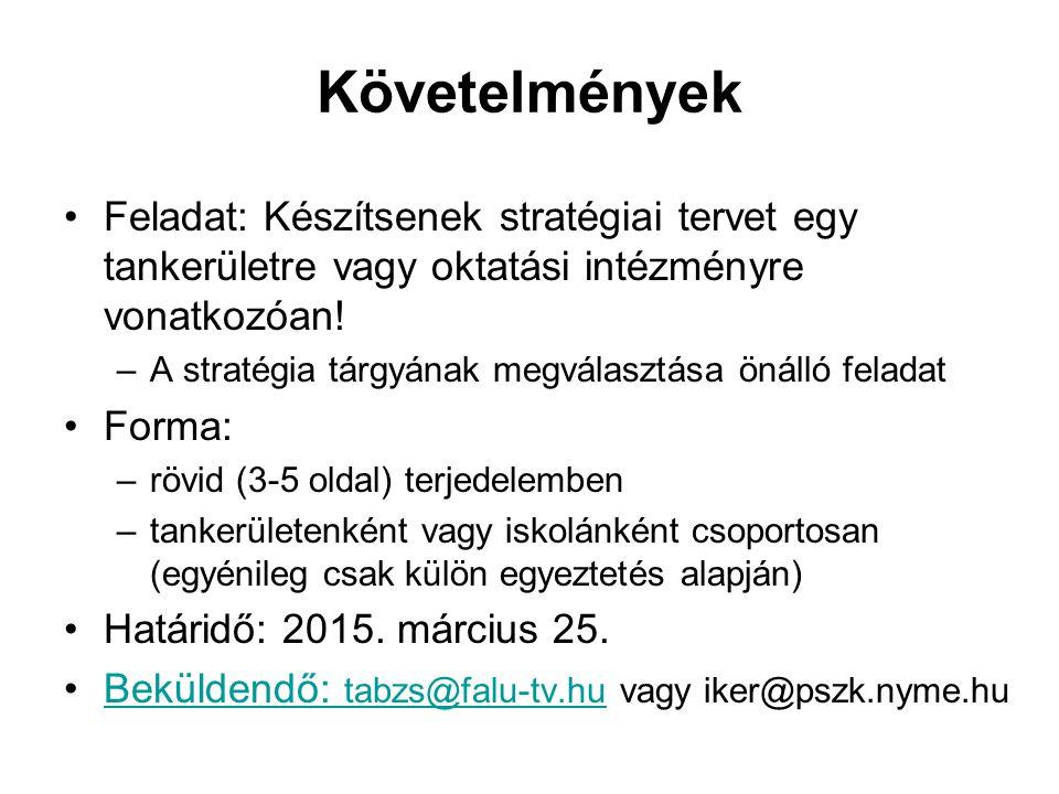 Követelmények Feladat: Készítsenek stratégiai tervet egy tankerületre vagy oktatási intézményre vonatkozóan.