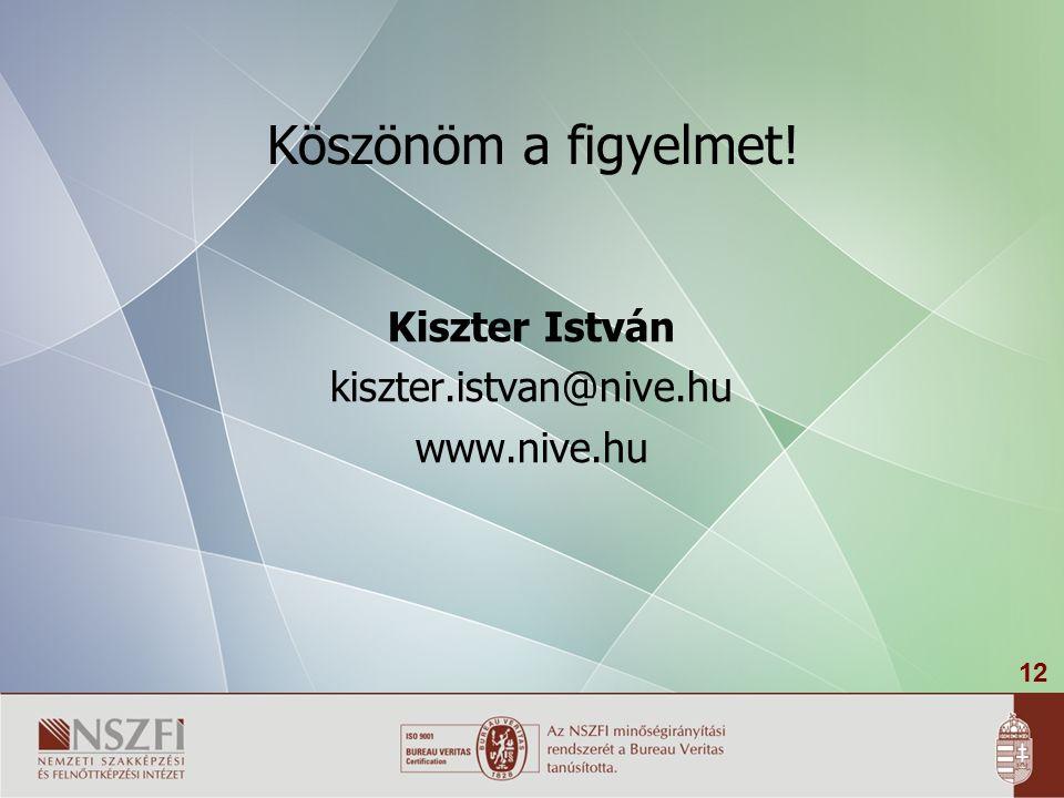 12 Köszönöm a figyelmet! Kiszter István kiszter.istvan@nive.hu www.nive.hu