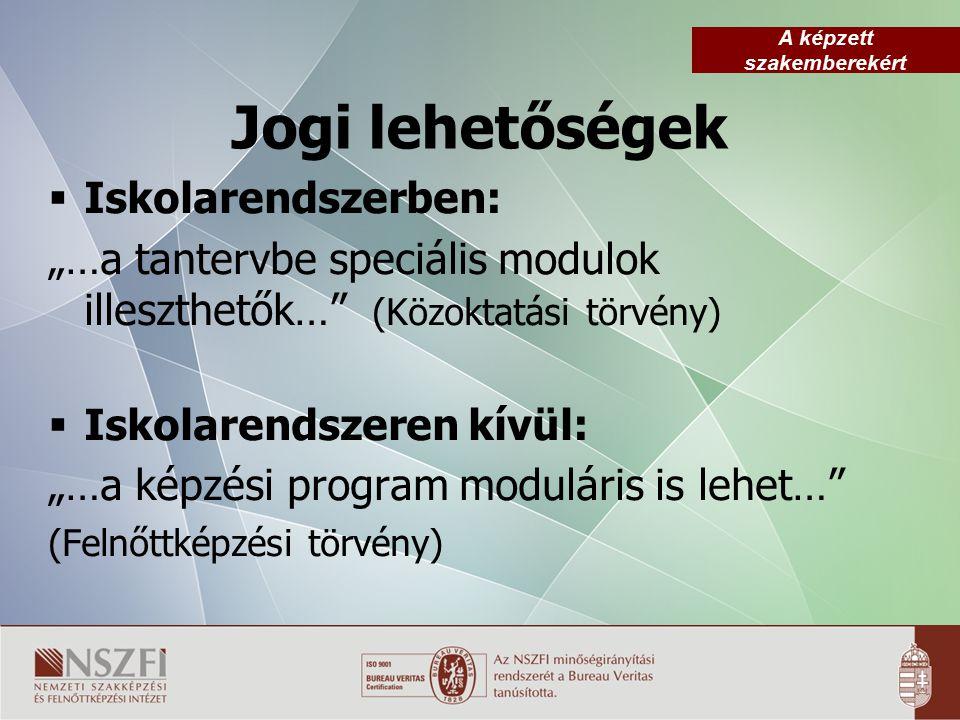 """A képzett szakemberekért Jogi lehetőségek  Iskolarendszerben: """"…a tantervbe speciális modulok illeszthetők… (Közoktatási törvény)  Iskolarendszeren kívül: """"…a képzési program moduláris is lehet… (Felnőttképzési törvény)"""