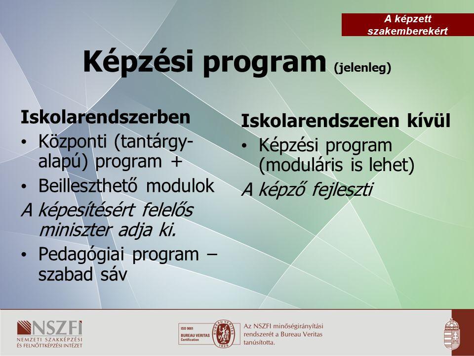 A képzett szakemberekért Képzési program (jelenleg) Iskolarendszerben Központi (tantárgy- alapú) program + Beilleszthető modulok A képesítésért felelős miniszter adja ki.