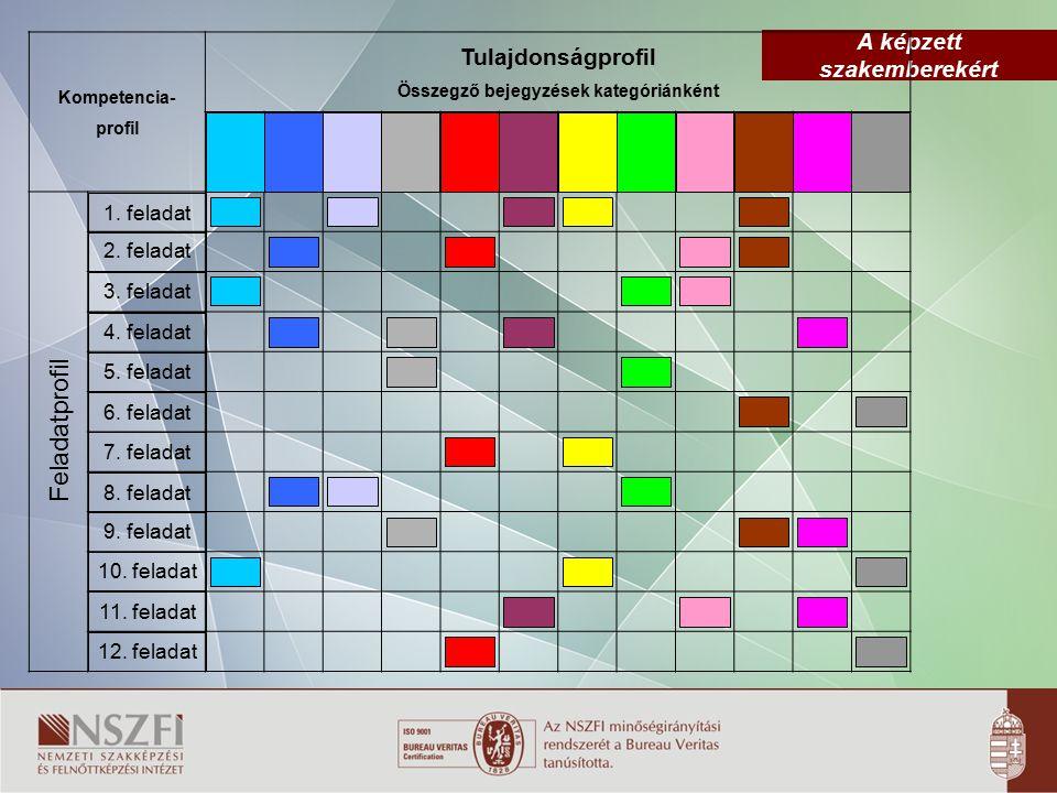 A képzett szakemberekért Kompetencia- profil Tulajdonságprofil Összegző bejegyzések kategóriánként Feladatprofil 1. feladat 2. feladat 3. feladat 4. f