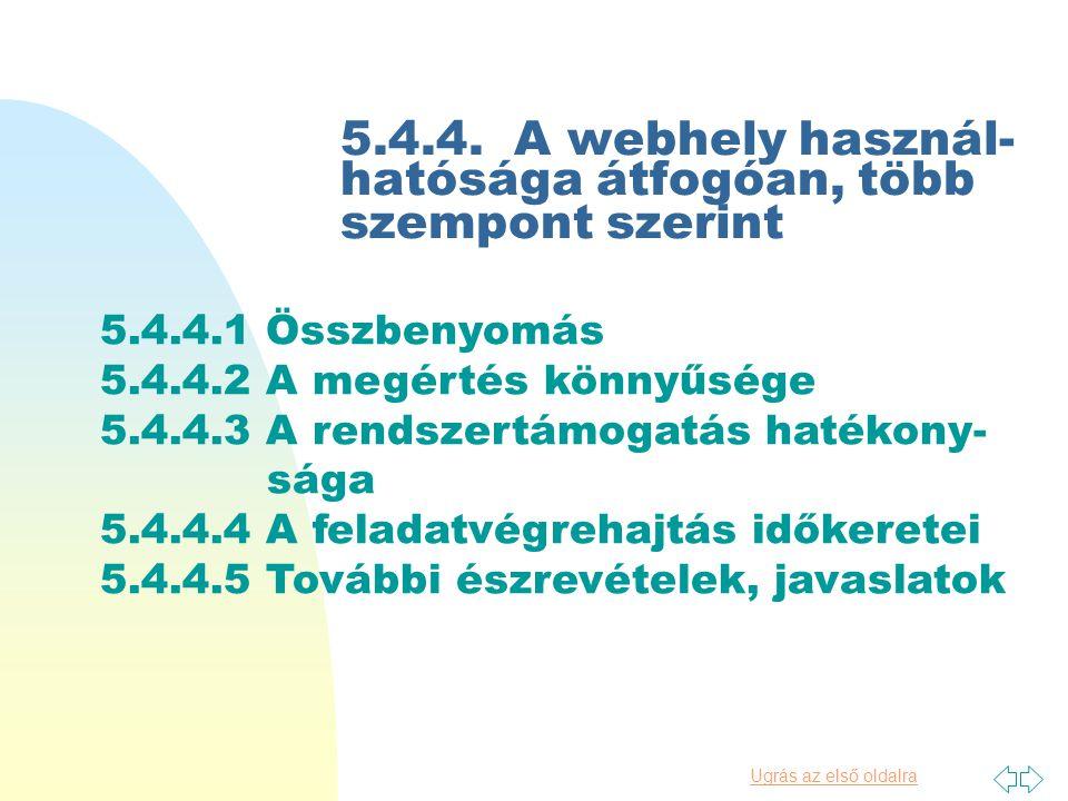 Ugrás az első oldalra 5.4.3 A webOPAC információkeresési használhatósága (1) Tipikus keresőkérdések kiválasztása (2) A feladatmegoldás hatékonysága (3) Kereséstámogató eszközök értékelése