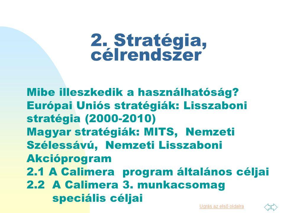 Ugrás az első oldalra 2.Stratégia, célrendszer Mibe illeszkedik a használhatóság.