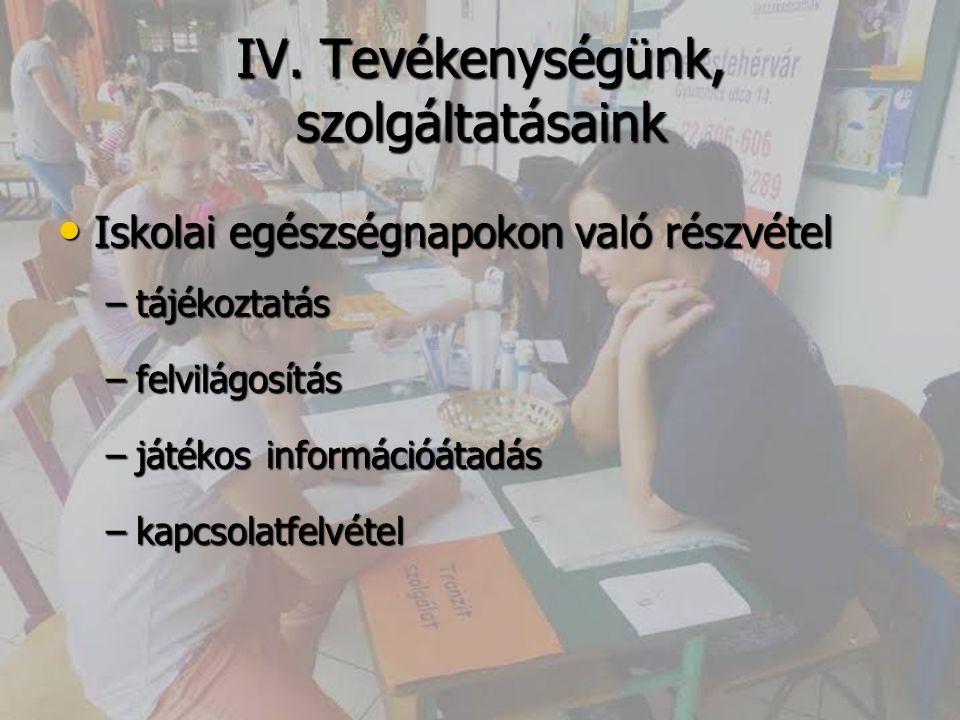 IV. Tevékenységünk, szolgáltatásaink Iskolai egészségnapokon való részvétel Iskolai egészségnapokon való részvétel –tájékoztatás –felvilágosítás –játé