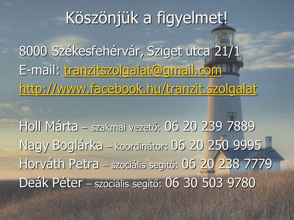 Köszönjük a figyelmet! 8000 Székesfehérvár, Sziget utca 21/1 E-mail: tranzitszolgalat@gmail.com tranzitszolgalat@gmail.com http://www.facebook.hu/tran