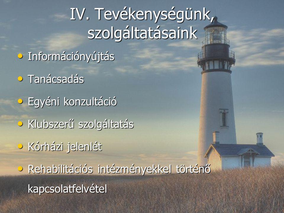 IV. Tevékenységünk, szolgáltatásaink Információnyújtás Információnyújtás Tanácsadás Tanácsadás Egyéni konzultáció Egyéni konzultáció Klubszerű szolgál