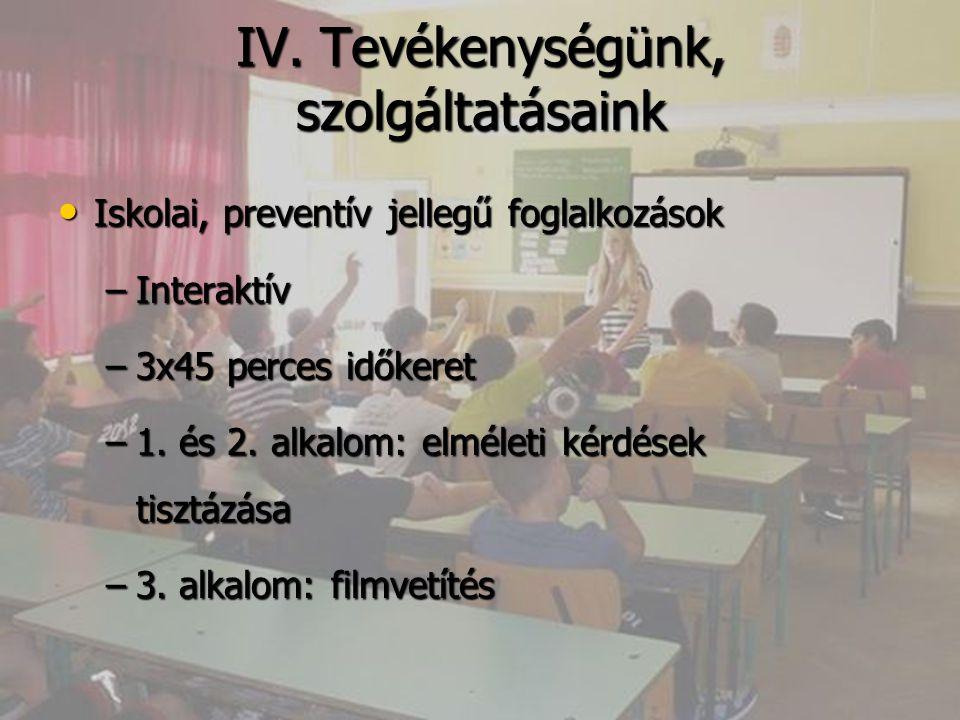 IV. Tevékenységünk, szolgáltatásaink Iskolai, preventív jellegű foglalkozások Iskolai, preventív jellegű foglalkozások –Interaktív –3x45 perces időker