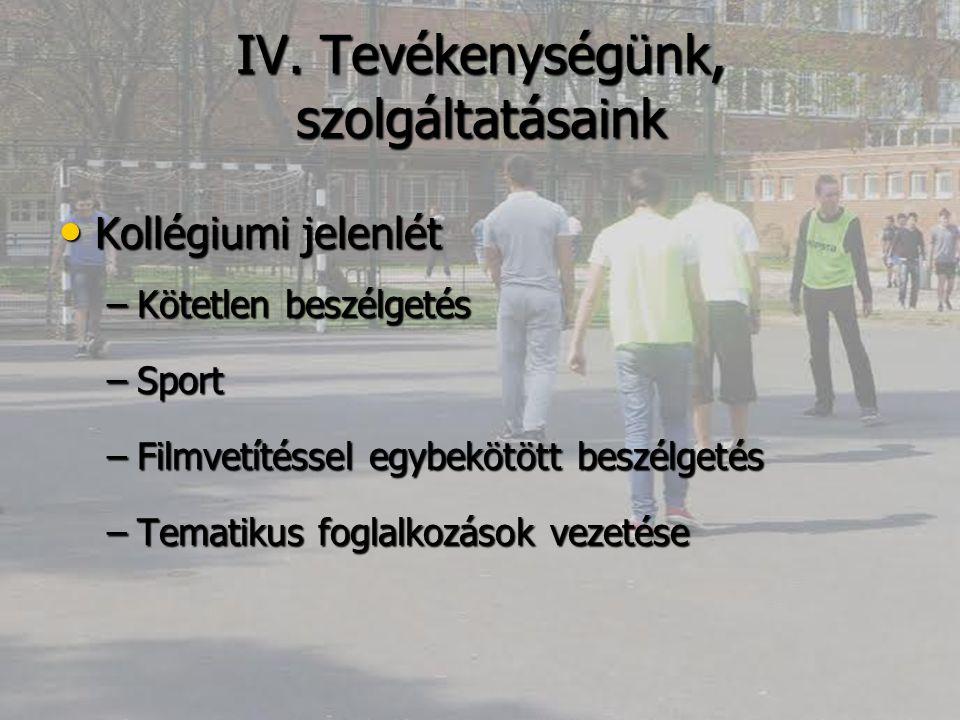 IV. Tevékenységünk, szolgáltatásaink Kollégiumi jelenlét Kollégiumi jelenlét –Kötetlen beszélgetés –Sport –Filmvetítéssel egybekötött beszélgetés –Tem