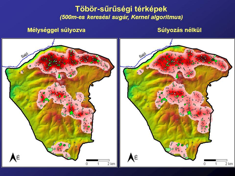 Töbör-sűrűségi térképek (500m-es keresési sugár, Kernel algoritmus) Mélységgel súlyozvaSúlyozás nélkül