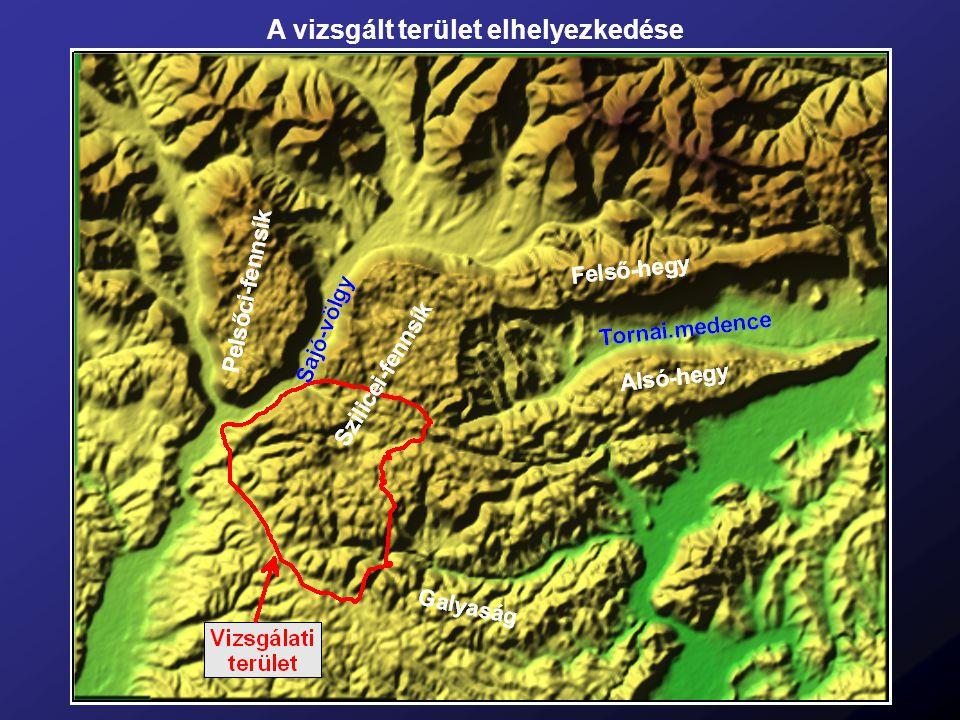 A vizsgált terület geológiai térképe a piros vonal a következő dián látható szelvény helyét jelöli