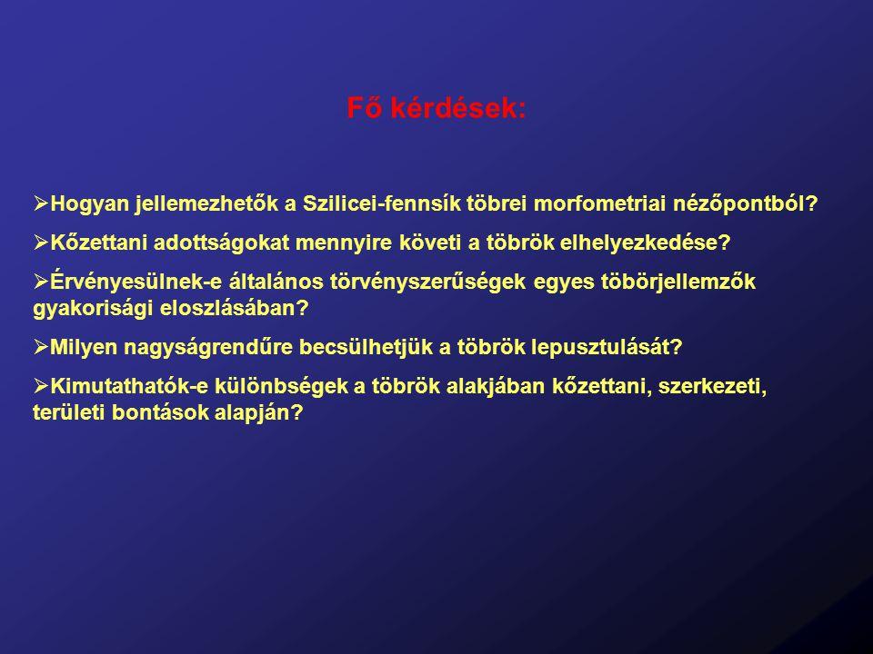 Módszertan 1) Térinformatikai adatbázis felépítése Alapadatok: Topográfiai térkép (1:10 000; szintvonalköz: 2m) Szlovák-Karszt geológiai térképe Digitalizált adatok: Digitális domborzatmodell ( topográfiai térkép alapján, felbontás: 20m ) Földtani határok, törésvonalak Töbör-határok (legkülső zárt szintvonal) Töbör-középpontok 2) Töbör-morfometriai elemzések Méret-jellemzők ( Kerület, Terület, Mélység, Térfogat ) Alak-jellemzők ( Függőleges megnyúltság, Kerekítettség ) Térbeli eloszlás ( Sűrűség ) Irány-statisztikai jellemzők ( Hossztengely, Legközelebbi szomszéd azimutja )