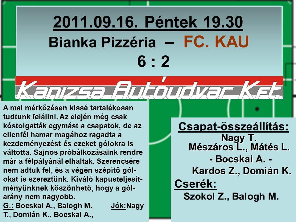 2011.09.16. Péntek 19.30 Bianka Pizzéria – FC. KAU 6 : 2 Nagy T.