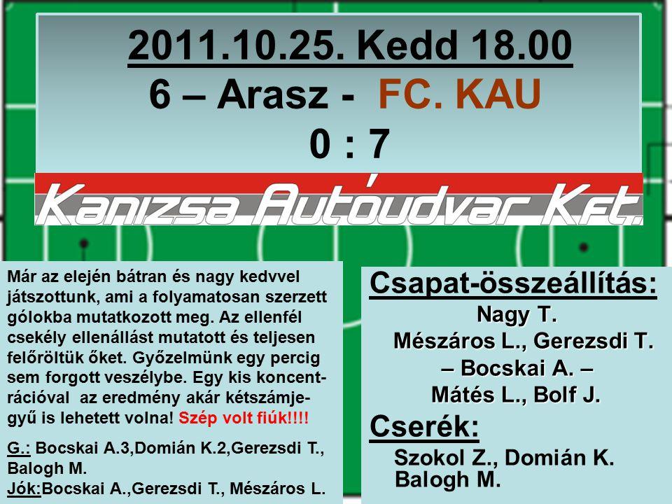 2011.10.25. Kedd 18.00 6 – Arasz - FC. KAU 0 : 7 Csapat-összeállítás: Nagy T.