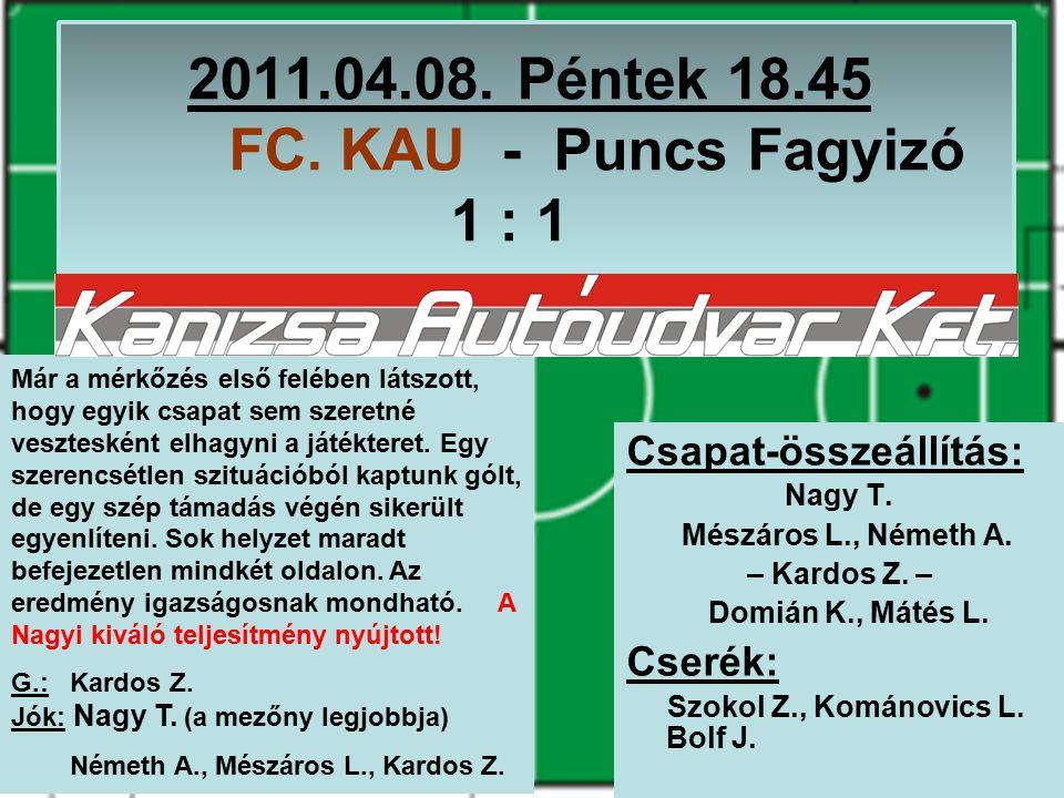 2011.04.15.Péntek 20.15 MU-VILL – FC. KAU 8 : 1 Csapat-összeállítás: Kománovics L.