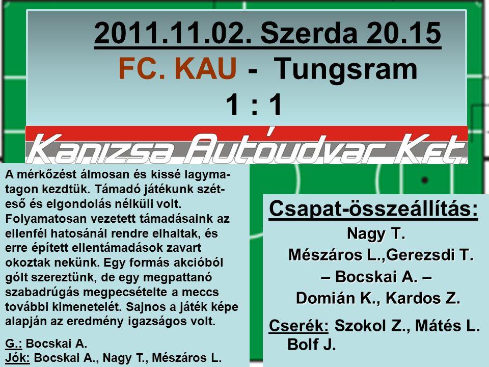 2011.11.02. Szerda 20.15 FC. KAU - Tungsram 1 : 1 Csapat-összeállítás: Nagy T.