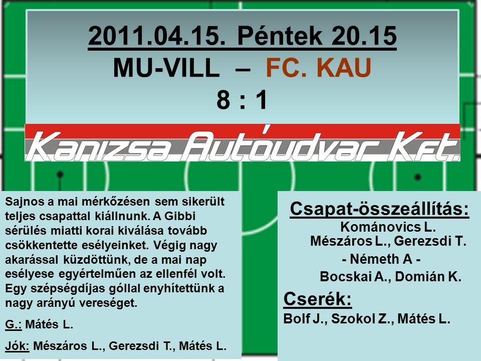 2011.04.15. Péntek 20.15 MU-VILL – FC. KAU 8 : 1 Csapat-összeállítás: Kománovics L.