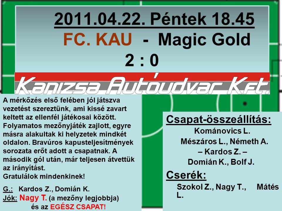 2011.04.22. Péntek 18.45 FC. KAU - Magic Gold 2 : 0 Csapat-összeállítás: Kománovics L.
