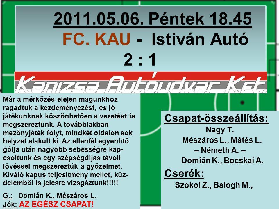 2011.05.13.Péntek 19.30 Igazságügy – FC. KAU 3 : 2 Csapat-összeállítás: Nagy T.