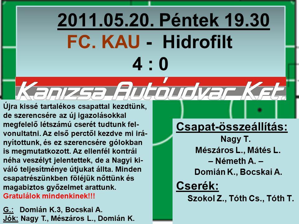2011.10.25.Kedd 18.00 6 – Arasz - FC. KAU 0 : 7 Csapat-összeállítás: Nagy T.