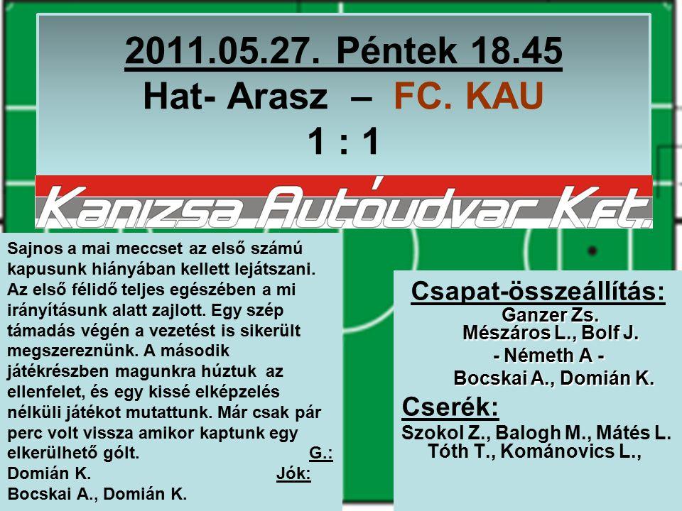 2011.05.27. Péntek 18.45 Hat- Arasz – FC. KAU 1 : 1 Ganzer Zs.