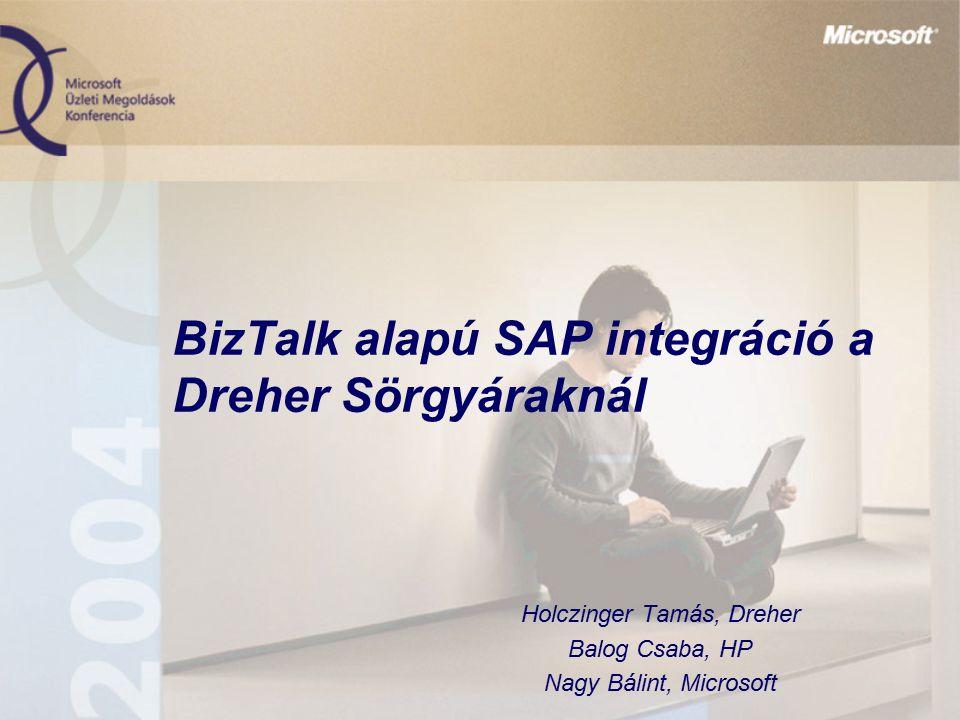 BizTalk alapú SAP integráció a Dreher Sörgyáraknál Holczinger Tamás, Dreher Balog Csaba, HP Nagy Bálint, Microsoft