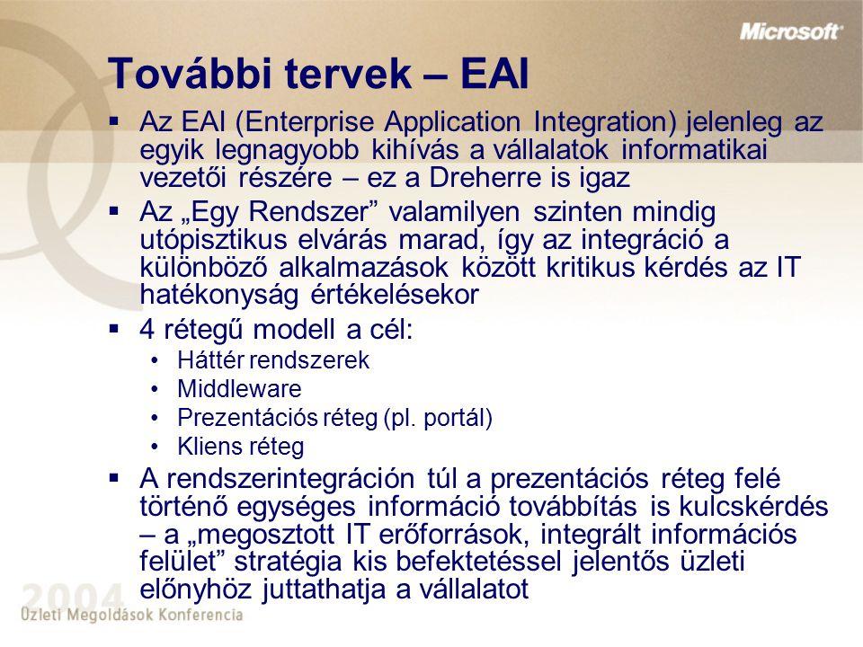 """További tervek – EAI  Az EAI (Enterprise Application Integration) jelenleg az egyik legnagyobb kihívás a vállalatok informatikai vezetői részére – ez a Dreherre is igaz  Az """"Egy Rendszer valamilyen szinten mindig utópisztikus elvárás marad, így az integráció a különböző alkalmazások között kritikus kérdés az IT hatékonyság értékelésekor  4 rétegű modell a cél: Háttér rendszerek Middleware Prezentációs réteg (pl."""