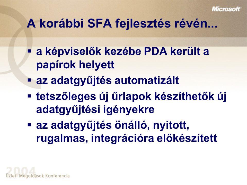 A korábbi SFA fejlesztés révén...  a képviselők kezébe PDA került a papírok helyett  az adatgyűjtés automatizált  tetszőleges új űrlapok készíthető