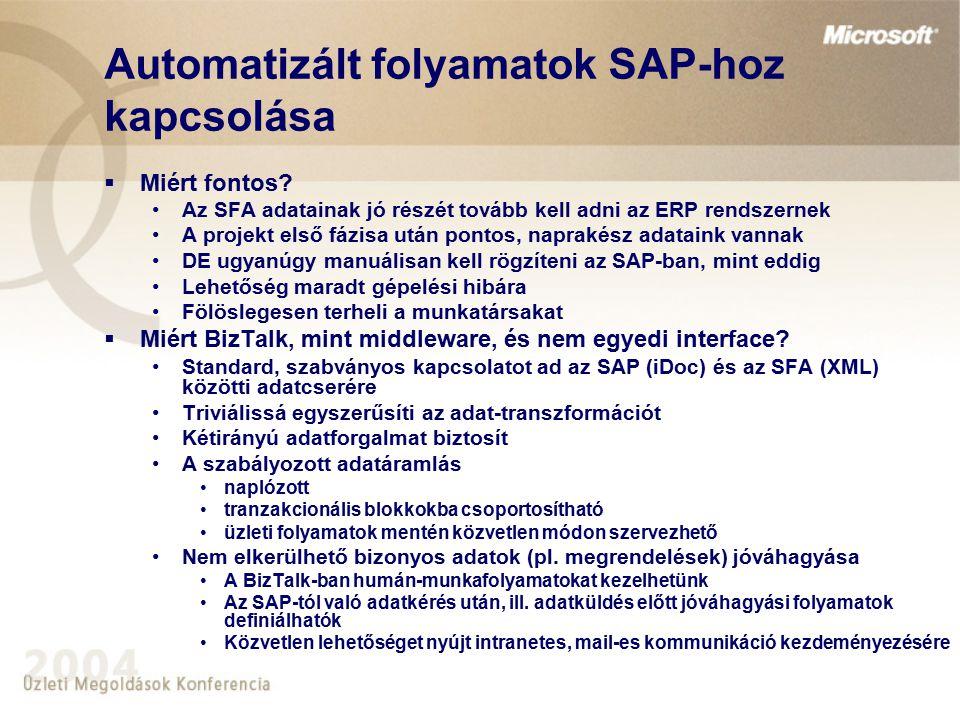 Automatizált folyamatok SAP-hoz kapcsolása  Miért fontos? Az SFA adatainak jó részét tovább kell adni az ERP rendszernek A projekt első fázisa után p