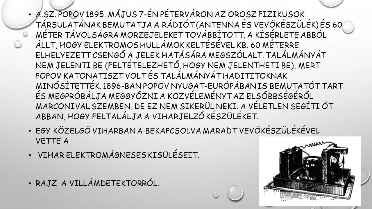 A.SZ. POPOV 1895. MÁJUS 7-ÉN PÉTERVÁRON AZ OROSZ FIZIKUSOK TÁRSULATÁNAK BEMUTATJA A RÁDIÓT (ANTENNA ÉS VEVŐKÉSZÜLÉK) ÉS 60 MÉTER TÁVOLSÁGRA MORZEJELEK