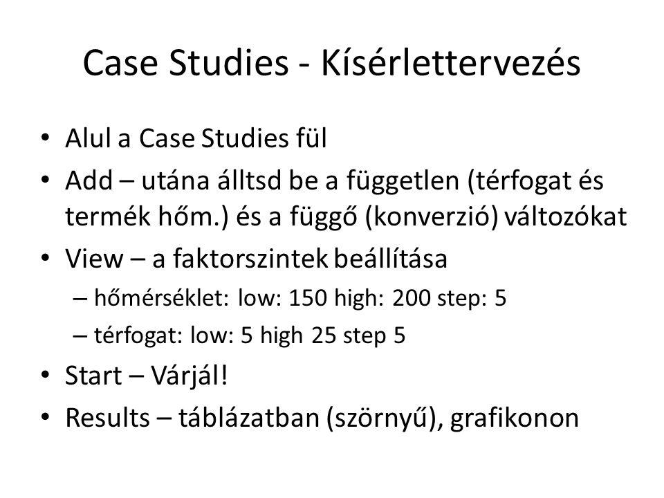 Case Studies - Kísérlettervezés Alul a Case Studies fül Add – utána álltsd be a független (térfogat és termék hőm.) és a függő (konverzió) változókat View – a faktorszintek beállítása – hőmérséklet: low: 150 high: 200 step: 5 – térfogat: low: 5 high 25 step 5 Start – Várjál.