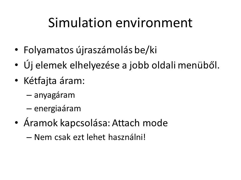 Simulation environment Folyamatos újraszámolás be/ki Új elemek elhelyezése a jobb oldali menüből.
