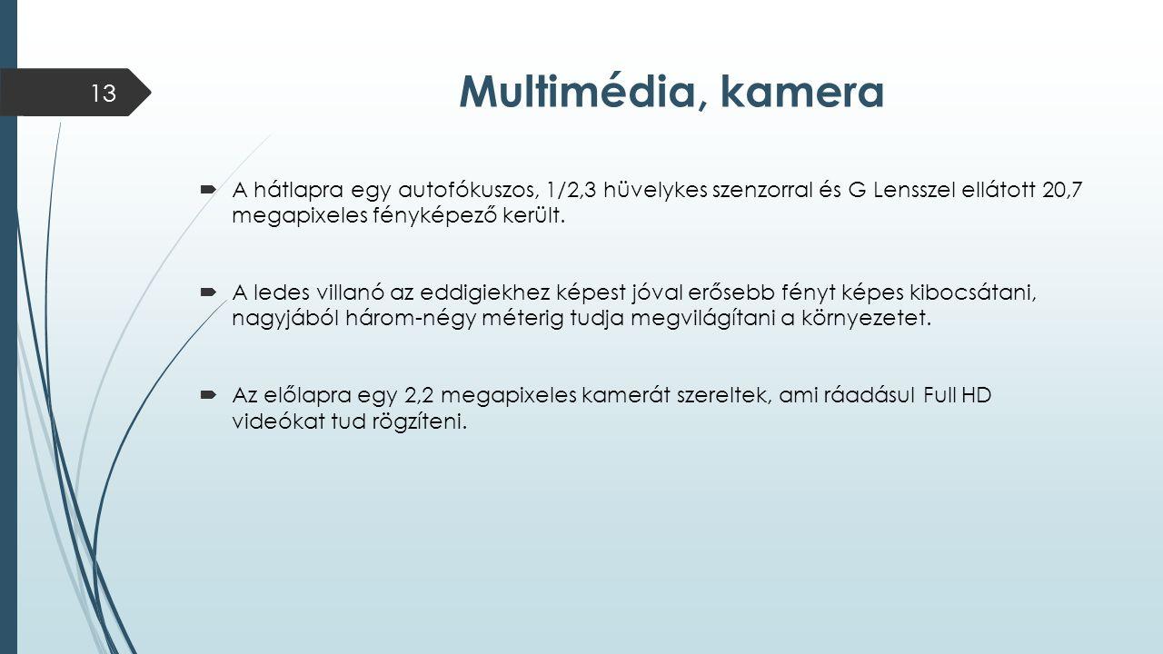Multimédia, kamera  A hátlapra egy autofókuszos, 1/2,3 hüvelykes szenzorral és G Lensszel ellátott 20,7 megapixeles fényképező került.  A ledes vill