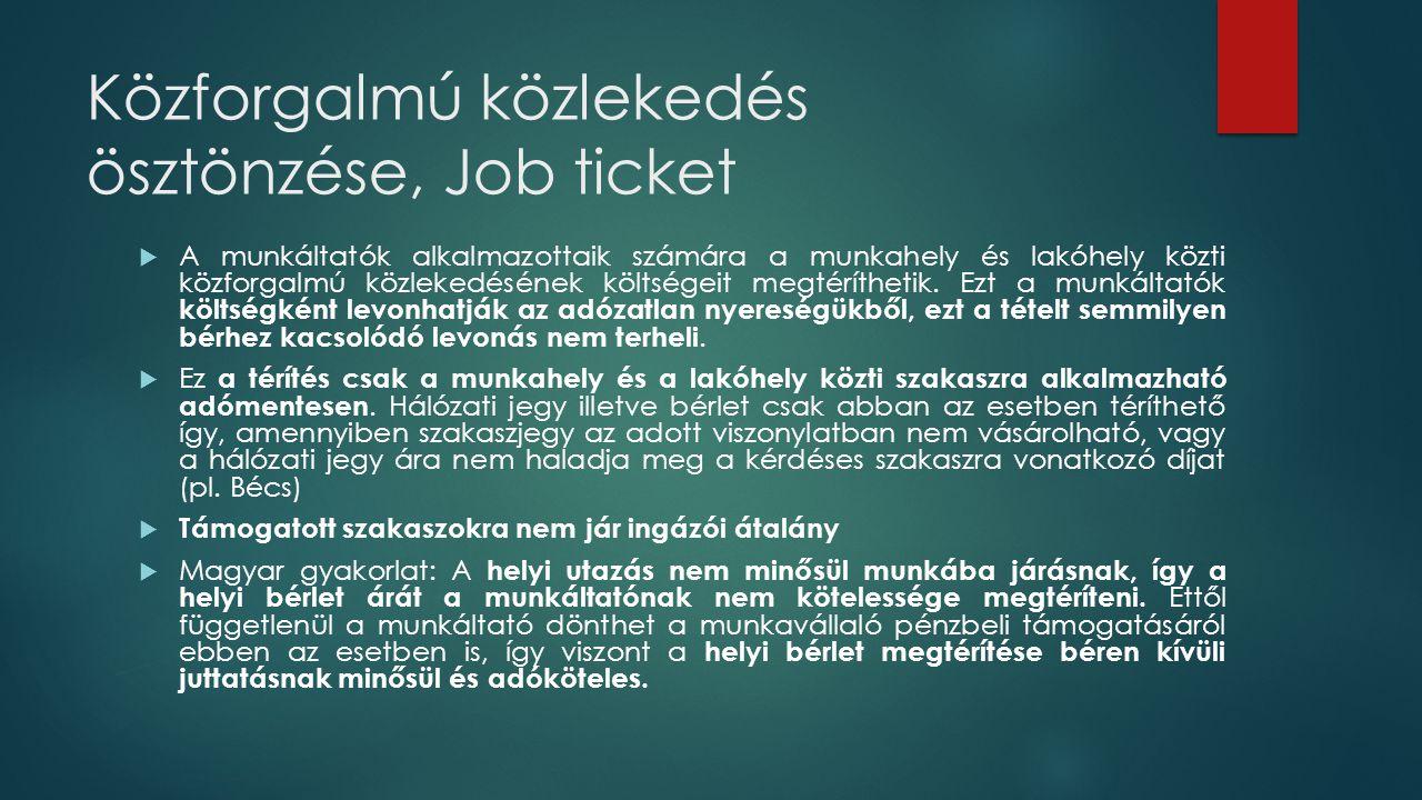 Közforgalmú közlekedés ösztönzése, Job ticket  A munkáltatók alkalmazottaik számára a munkahely és lakóhely közti közforgalmú közlekedésének költsége