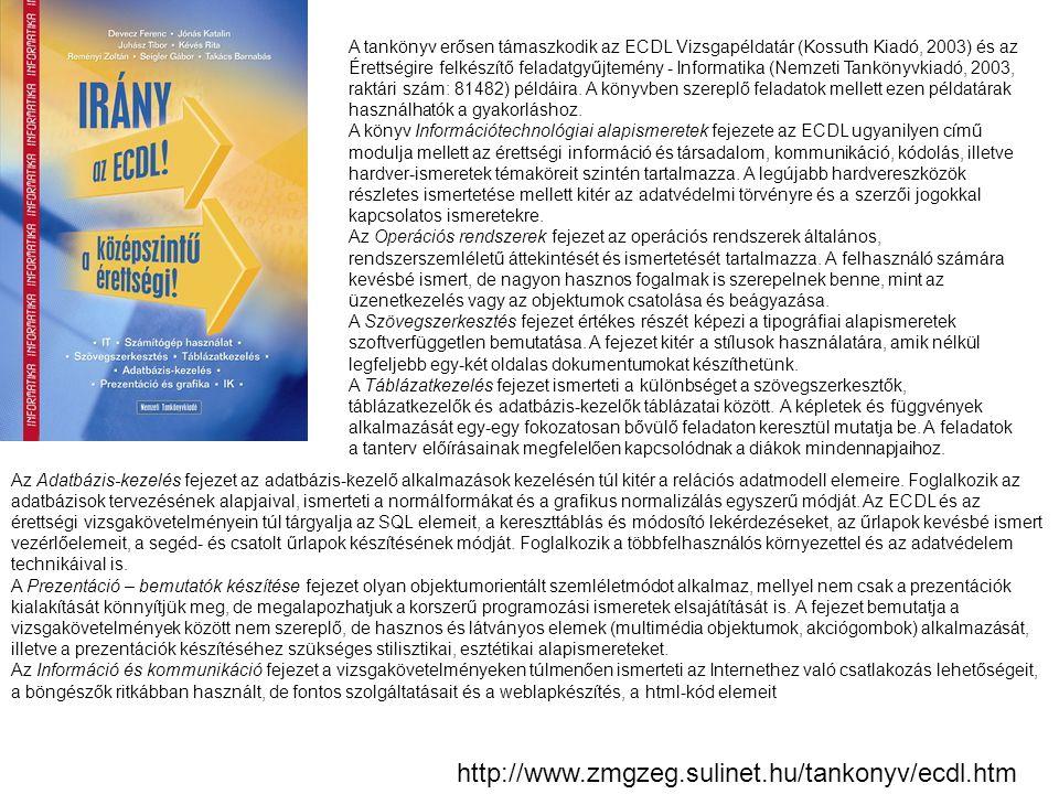 http://www.zmgzeg.sulinet.hu/tankonyv/ecdl.htm A tankönyv erősen támaszkodik az ECDL Vizsgapéldatár (Kossuth Kiadó, 2003) és az Érettségire felkészítő