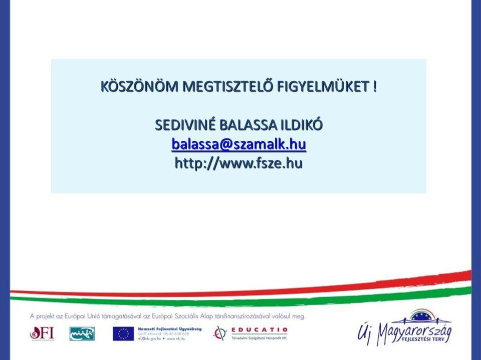 KÖSZÖNÖM MEGTISZTELŐ FIGYELMÜKET ! SEDIVINÉ BALASSA ILDIKÓ balassa@szamalk.hu http://www.fsze.hu